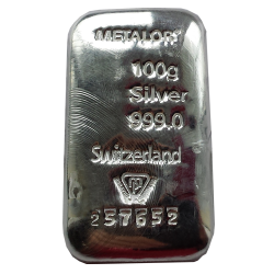 GBD_Metalor_100_Gram_Silver_Bar